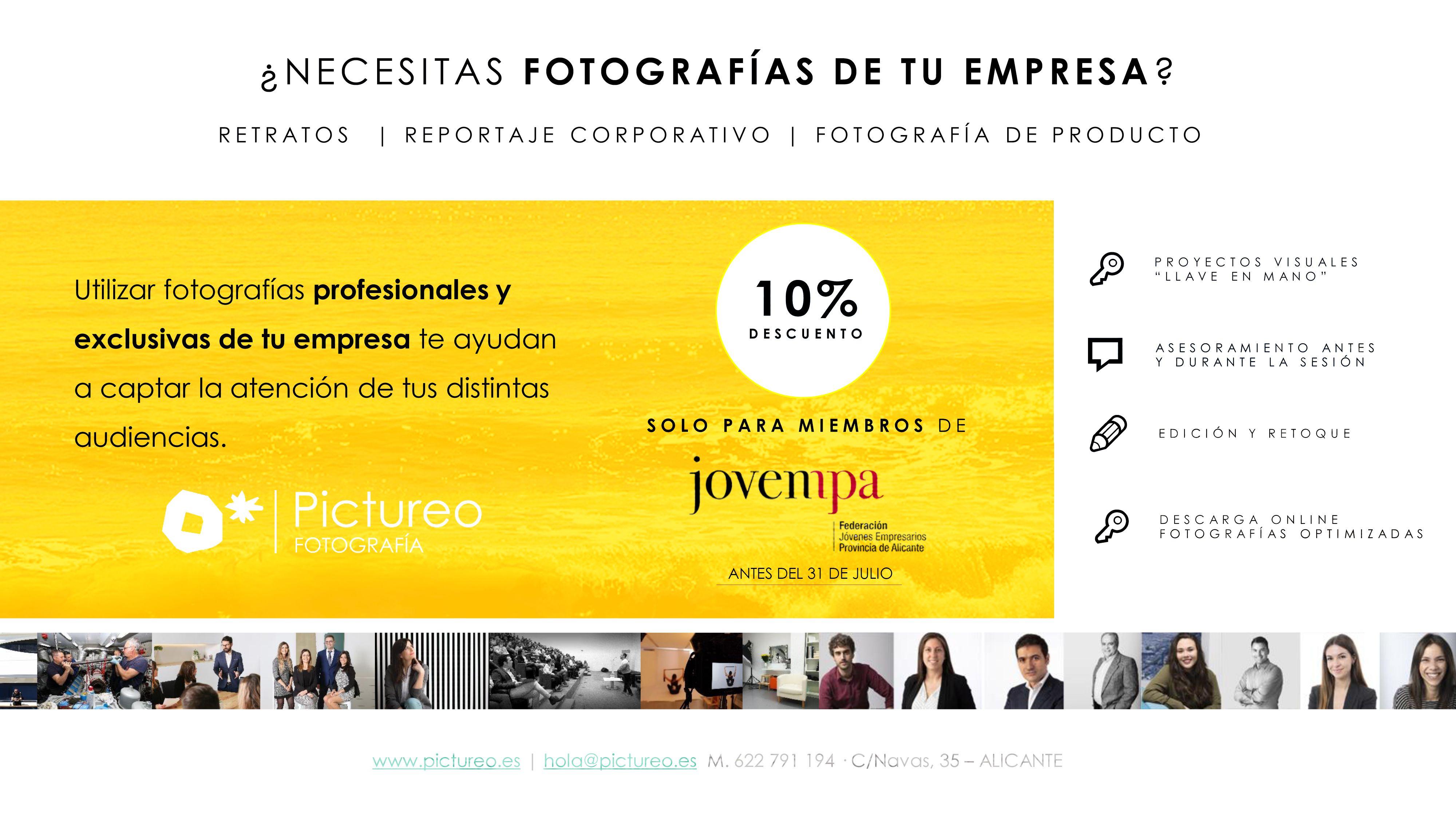 Oferta miembros Jovempa fotografia corporativa alicante